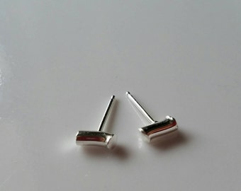 Hammered wavy cylinder sterling silver studs