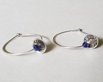 Handmade Sterling Silver Stamped Hoops with Lapis Lazuli, Mystic Eye Earrings
