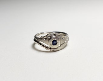 Unique Handmade Sterling Silver Eco Friendly Sapphire Eye Ring Set, Size 6.75