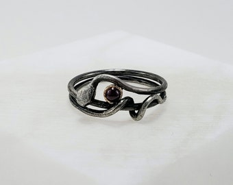 Handmade Sterling Silver, 14k Gold and Ruby Snake Wrap Around Ring, Size 6.75
