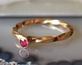 14k gold heavy twisted natural ruby ring, size 6.5
