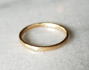Hammered 14k Gold Band, Wedding Ring, Dimple Texture Stacking Ring