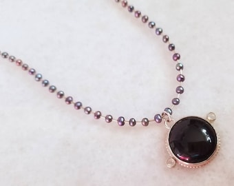 Unique Round Black Onyx, Moonstone and Peacock Pearls Sterling Silver Necklace