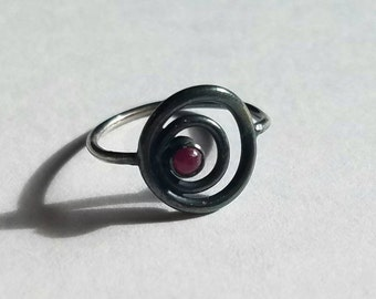 Handmade Sterling Silver Ruby Orbit Circle Ring, Size 6.5