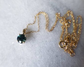14k gold and tri-color natural sapphire pendant