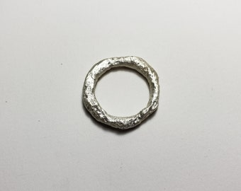 LargeOrganic Molten Recycled Silver Ring,Size 9.5