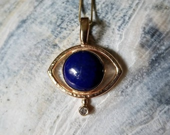 Unique 14k gold lapis lazuli and diamond mystic eye talisman pendant