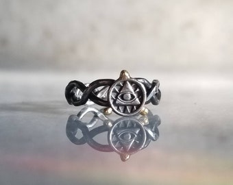 Eye of providence braided pinky ring, size 4