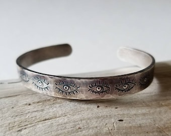 Unique, hand stamped All Seeing Eye cuff, one of a kind cuff, mystic eye bracelet
