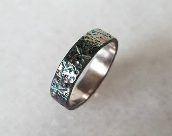 Celestial band sterling silver unisex ring, one of a kind, size 9