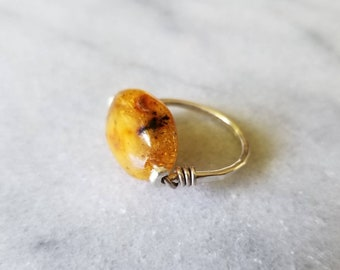 Ancient Egyptian design amber and sterling silver ring, size 6