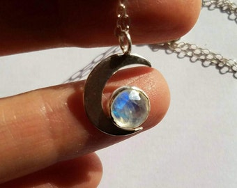 Sterling silver little moon and moonstone necklace