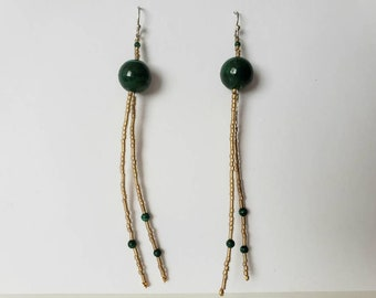 Malachite and Gold Glass Long Dangle Earrings