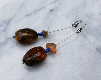 Large Baltic Amber and Lapis Lazuli Long Dangle Earrings