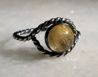 Oxidized sterling silver twist eye ring with rutilated quartz, size 7
