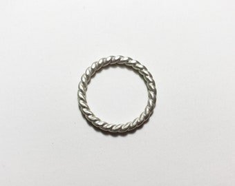 Heavy Sterling Silver Twisted Pope Satin Finish Band, size 8