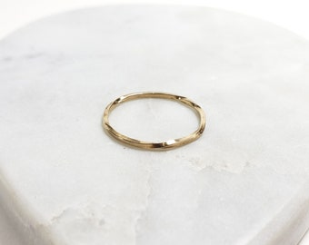 14k Gold Infinite Twist Ring, Handmade Band Size 7