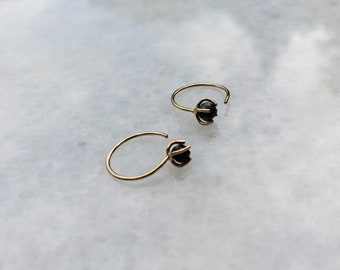 Raw Diamond  and 14k Gold Hoop Hugger Earrings