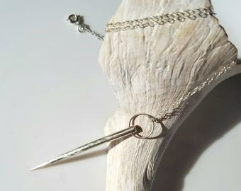 Don't Mess With Me long spike sterling silver necklace