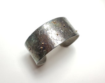 Hand Stamped Celestial Cuff in Sterling Silver and 14k Gold, One of a Kind Bracelet