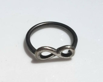 Oxidized sterling silver infinity ring