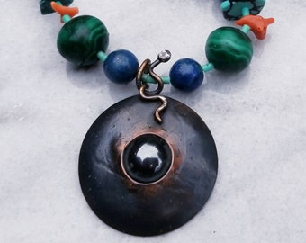 One of a kind snake talisman with  semi-precious beads asymetrical necklace