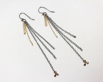 Unique Oxidized Silver and 14k Gold Dangles Chain Earrings