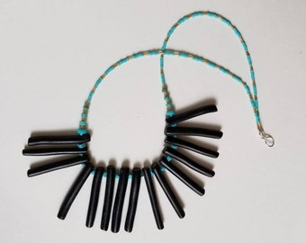 Vintage black coral and turquoise beaded bib necklace