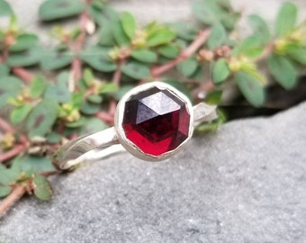 Sterling silver twisted rose cut garnet ring