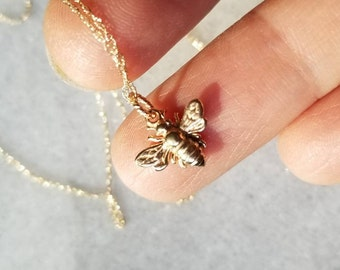 Realistic 14k gold honey bee  pendant, gardeners pendant, bee pendant
