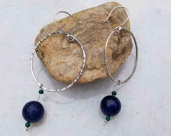 Floating orbs sterling silver and lapis lazuli and malachite hoops