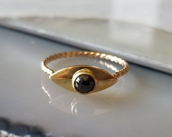 Unique 14k gold rose cut black diamond eye ring, talisman ring, size 6.5