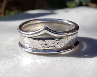 Unique Stacking Ring Set with Hammered Band and Arch Ring , Size 7