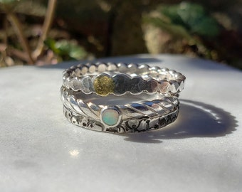 Unique Stacking Ring Set with Opal, Size 8