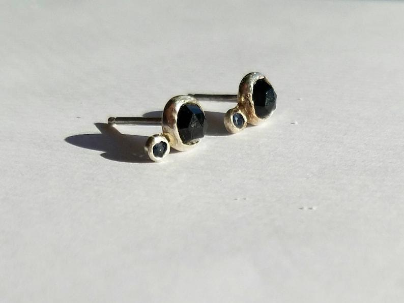 Cosmic sterling silver black spinel and sapphire orbit earrings