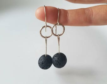 Sterling silver and lava orbs dangle earrings