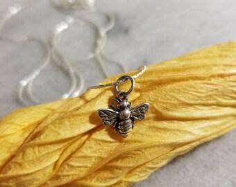 Realistic sterling silver honey bee  pendant, gardeners pendant, bee pendant