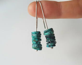 Sterling silver hook earrings with natural turquoise slices