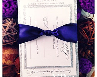 Navy Blue and Silver Glitter Wedding Invitation, Navy Wedding Invitation