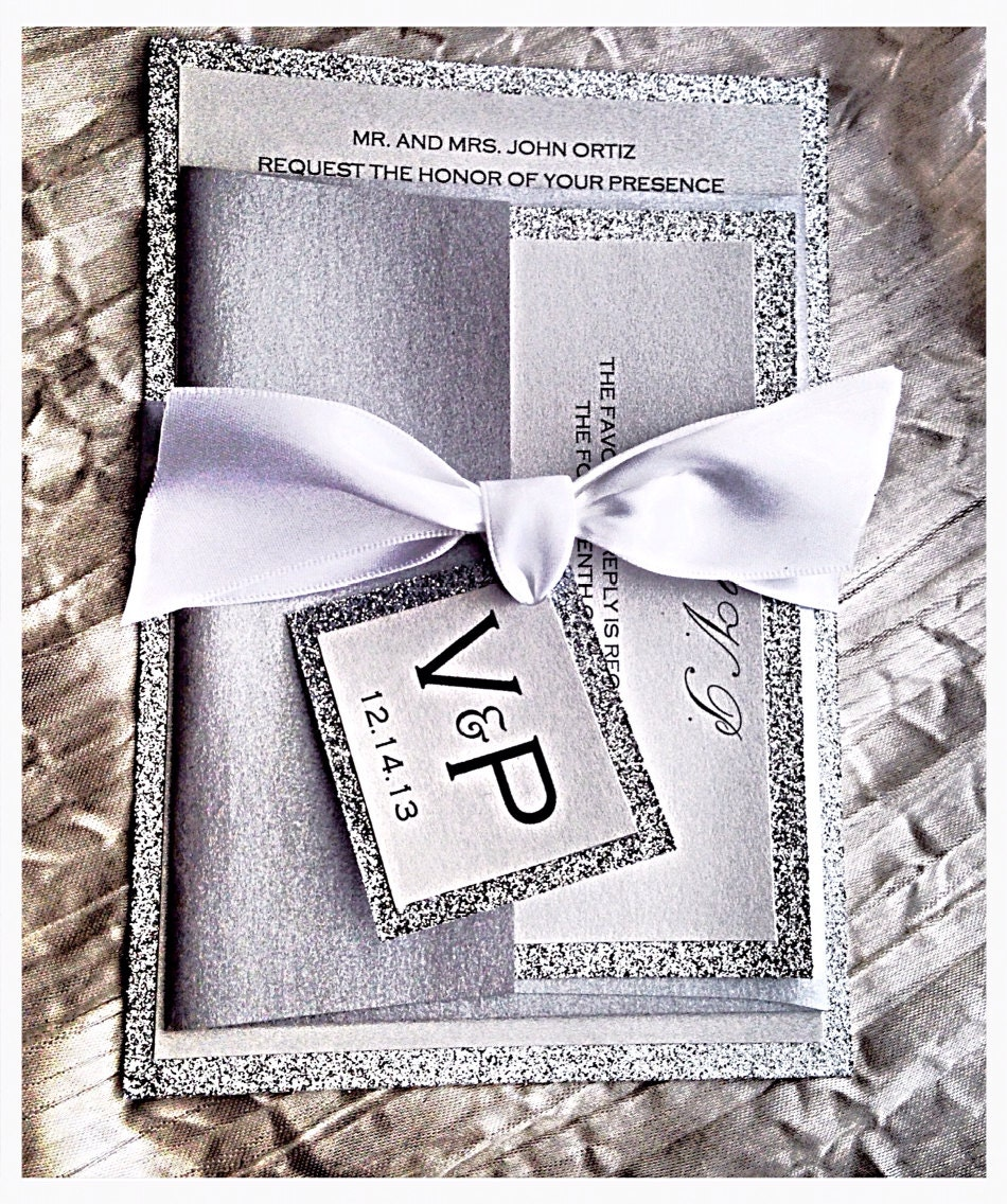 Silver Wedding Invitations: Silver And White Wedding Invitations With Initails Tag Silver