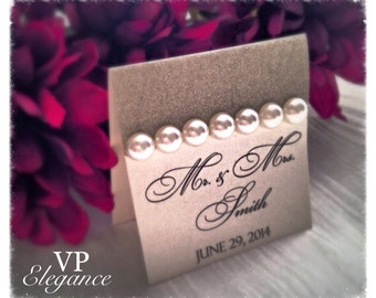 Wedding place cards, wedding seating cards, champagne wedding place cards, place cards, pearl seating card, wedding seating cards