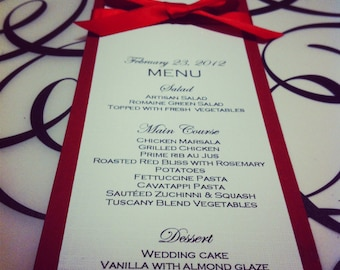 Elegant red ribbon menu card for all your events