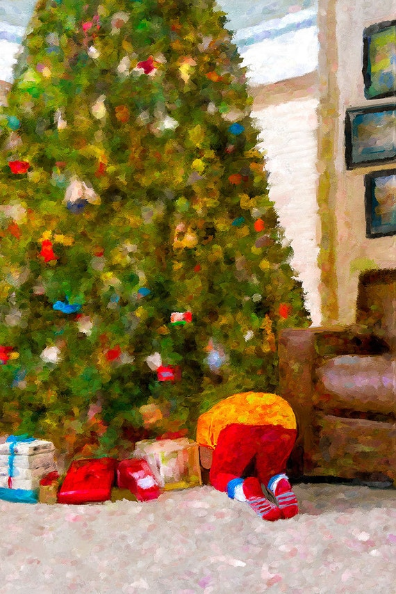 Christmas Presents Under Tree.Christmas Tree Gifts Boy Under Tree Fine Art Canvas Print Home Decor Wall Art Digital Painting
