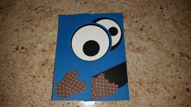 Cookie Monster Pop Up Card Cookie Monster Birthday Card Etsy