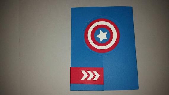 Captain America Birthday Card Captain America Shield Birthday Etsy