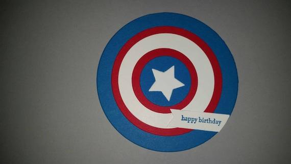 Captain America Shield Birthday Card Captain America Birthday Etsy