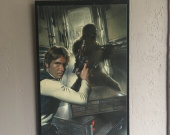 Star Wars- Han Solo and Chewbacca comic wall plaque. Upcycled wall art. Great for any Han and Chewie Star Wars fan!