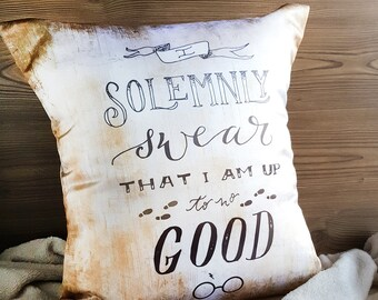 Throw Pillow Cover: Solemnly Swear — Harry Potter Home Decor