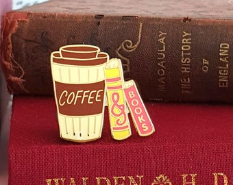 Coffee & Books - Bookish Enamel Pin