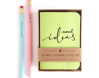 Novel Ideas Pocket Journal Gift Set — 3pc Gift Set, Stocking Stuffers, Pockets Journals